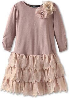 Biscotti Shimmering Rose L/S Drop Waist Dress