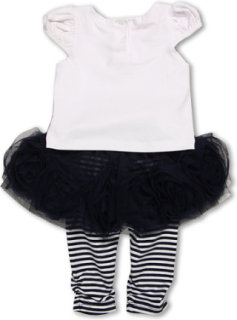 Biscotti Ship Shape White Tee with Navy Skirted Striped Legging