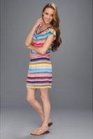 C&C California Ombre Stripe Cowl Neck Dress