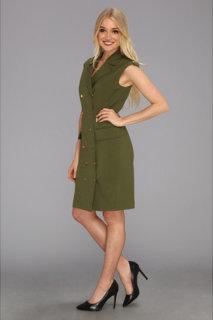 Calvin Klein Lux Cap Sleeve Button Down Shirt Dress