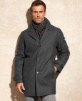 Calvin Klein Melton Wool-Blend Car Coat with Scarf