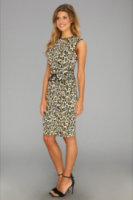 Calvin Klein Ponte Sleeveless Animal Printed Dress w/Leather Piping