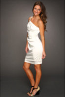 Calvin Klein Ruched Satin Dress with Bead Embellishments