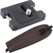 Camdapter Arca XT Adapter with Chocolate Brown ProStrap Fits All Arca Swiss QR and RRS Clamps