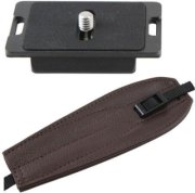 Camdapter Manfrotto Neoprene Adapter with Chocolate Brown ProStrap Fits 3157N Plate RC2-Type QRs