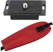 Camdapter Manfrotto Neoprene Adapter with Red ProStrap Fits 3157N Plate RC2-Type QRs