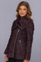 Cole Haan Asymmetrical Zip Coat w/ Leather Details
