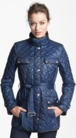 Cole Haan Belted Leather Trim Quilted Jacket (Petite) Large P
