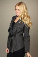 Cole Haan Cascading Blanket Wool Jacket w/ Leather Tie
