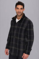 Cole Haan Italian Wool Plaid Car Coat w/ Melton Details