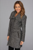 Cole Haan Novelty Twill Wool Coat w/ Envelope Collar