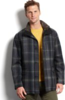Cole Haan Plaid Shearling-Collar Button-Front Wool-Blend Coat