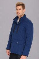 Cole Haan Rail Quilt Down Jacket w/ Leather Details