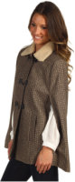 Cole Haan Shearling Collar Wool Capelet