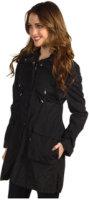 Cole Haan Single Breasted Metallic Raincoat w/ Drawstring Details