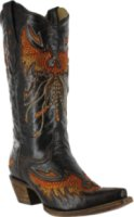 Corral Boots Eagle Inlay and Crystal Snip Toe Boots