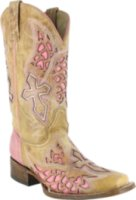 Corral Boots Square Toe Wing and Cross Inlay
