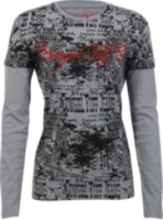 Cowgirl Tuff Long Sleeve Graphic Print Shirt