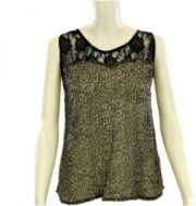 Crazy Cowboy Sleeveless Sheer Leopard and Lace Blouse