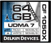 Delkin 64GB CF1050X UDMA 7 Cinema Memory Card 160MB/s Read 120MB/s Write Made in USA