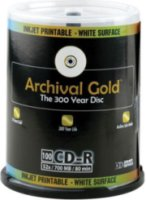 Delkin CD-R Archival Gold Scratch Armor 700mb 80 Minute 100 Pack on Cakebox Spindle