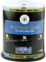 Delkin DVD-R Archival Gold with Inkjet Printable Face 4.7 GB 100 Pack with Cakebox Spindle