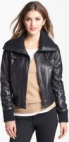 DKNY Knit Trim Leather Bomber Jacket Medium