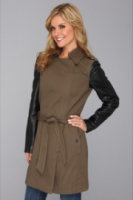 DKNY Pieced Trench Coat With Zip Off Sleeves