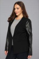 DKNYC Plus Size L/S Shawl Collar Blazer w/ Faux Leather Sleeves