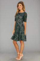 Eliza J 3/4 Sleeve Crochet Fit Flare W/ Contrast Lining