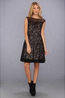 Eliza J Extended Cap Party Dress W/ Yoke Illusion