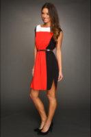 Eliza J Jewel Neckline Colorblocked Dress