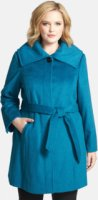 Ellen Tracy Belted Wing Collar Coat (Plus Size) 2X