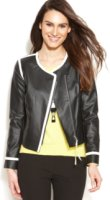 Ellen Tracy Faux-Leather Colorblock Moto Jacket