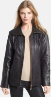 Ellen Tracy Quilt Trim Leather Jacket X-Small