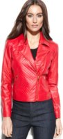 Ellen Tracy Quilted Faux-Leather Zip-Front Moto