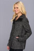 Ellen Tracy Snap Front Swing Herringbone Coat