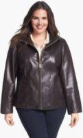 Ellen Tracy Zip Front Leather Scuba Jacket (Plus Size)