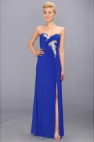Faviana Strapless Ruched Mesh Gown 7316