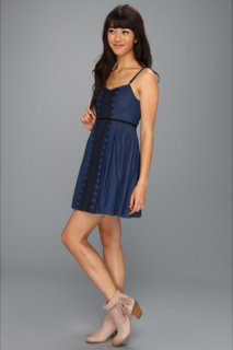 Free People Denim Embroidered Open Back Dress