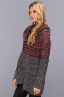 Free People Engineered Stripe Cowl Pullover