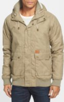 Globe Anglesea Wax Coated Canvas Hooded Bomber Jacket Small
