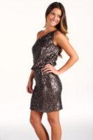 Halston Heritage Sequins Jersey One Shoulder Dress