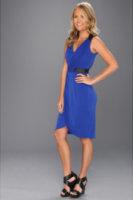 Ivy & Blu Maggy Boutique V-Neck Faux Wrap Dress w/ Leather Trim