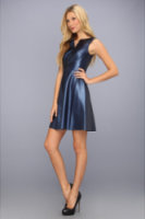 Ivy & Blu Maggy Boutique Vegan Leather Split Neck Fit And Flare Dress