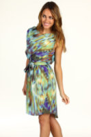 Jessica Simpson Asymmetrical One Sleeve Belted Dress