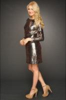 Jessica Simpson Long Sleeve Sequin V-Back Dress