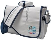 Jill.e Weather Resistant Sailcloth Messenger Style Electronics Bag White with Navy Blue Accent