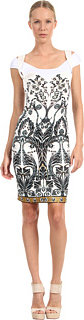Just Cavalli Deco Flower Dress with Twist Cap Sleeve