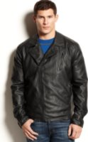 Kenneth Cole New York Faux Leather Asymetrical Jacket